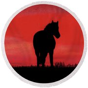 Red Sunset Horse Round Beach Towel