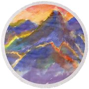 Red Sunset In The Mountains Round Beach Towel