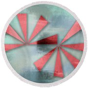 Red Triangles On Blue Grey Backdrop Round Beach Towel