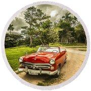 Red Vintage Car Round Beach Towel