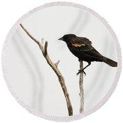 Red Winged Blackbird Round Beach Towel