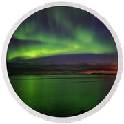 Reflected Aurora Round Beach Towel