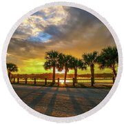 Round Beach Towel featuring the photograph Reflected Sunburst by Tom Claud