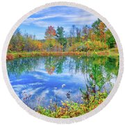 Round Beach Towel featuring the photograph Reflecting On Fall At The Pond by Lynn Bauer