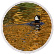 Reflecting With Hooded Merganser Round Beach Towel