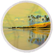 Reflection Of Coastal Palm Trees Round Beach Towel