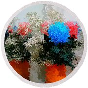 Reflection Of Flowers In The Mirror In Van Gogh Style Round Beach Towel