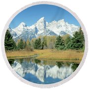 Reflection Of Mountains In Water, Grand Round Beach Towel