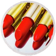 Reflection Of Red Lipstick Round Beach Towel
