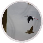Round Beach Towel featuring the photograph Reflection Of The Salton Sea Black Neck Stilt Flying by Colleen Cornelius
