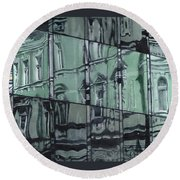 Reflection On Modern Architecture Round Beach Towel