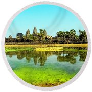 Reflections At Angkor Wat, Cambodia Round Beach Towel