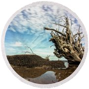 Reflections At Black Rock Round Beach Towel