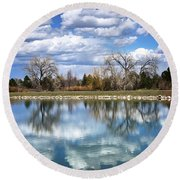 Reflections At Harper's Lake Round Beach Towel