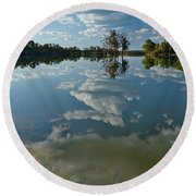 Reflections By The Lake Round Beach Towel