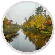 Reflections In Autumn Round Beach Towel