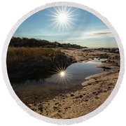 Reflections Of Autumn At The Beach Round Beach Towel