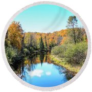 Reflections Of Fall In Wisconsin Round Beach Towel