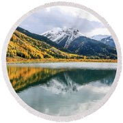 Reflections On Crystal Lake 1 Round Beach Towel