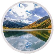 Reflections On Crystal Lake 2 Round Beach Towel