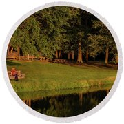 Reflective Contemplation Round Beach Towel