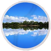 Reflective Lake Patricia Round Beach Towel
