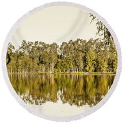 Reflective Rivers Round Beach Towel