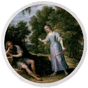 'reinaldo Enamorado De Armida, En La Isla De Orontes', 1628-1630, Flemish School,... Round Beach Towel