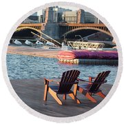 Relaxing On The River Round Beach Towel