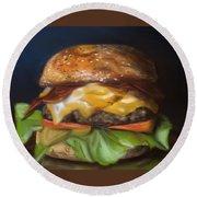 Round Beach Towel featuring the pastel Renaissance Burger  by Fe Jones