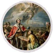 'rendicion De Sevilla Al Rey San Fernando', Second Half 18th Century, Fr... Round Beach Towel
