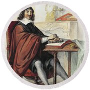 Rene Descartes 1596-1660 French Mathematician And Philosopher, Engraving Round Beach Towel