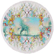 Round Beach Towel featuring the digital art Repetition by Mike Braun
