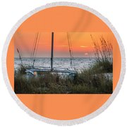 Round Beach Towel featuring the photograph Resting On The Beach by Steven Sparks