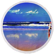 Round Beach Towel featuring the photograph Retieiees Lawn Chairs On The Beach Surf  by Tom Jelen