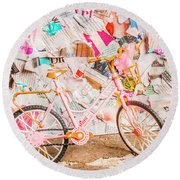 Retro City Cycle Round Beach Towel