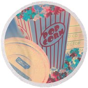 Retro Flicks Round Beach Towel