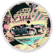 Retro Roadvival Round Beach Towel