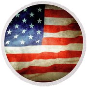 Retro U.s. Flag Round Beach Towel