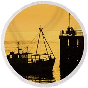 Returning To Harbour At Dusk Round Beach Towel