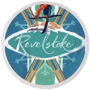 Revelstoke Ski Poster Round Beach Towel