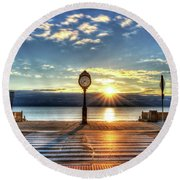 Revere Beach Clock At Sunrise Angled Long Shadow Revere Ma Round Beach Towel