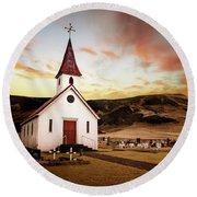 Reyniskirkja Lutheran Church In Iceland Round Beach Towel