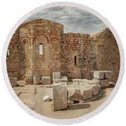 Rhodes Lindos Acropolis Church Of Saint John Round Beach Towel