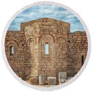 Rhodes Lindos Acropolis Church Of Saint John Facade Round Beach Towel