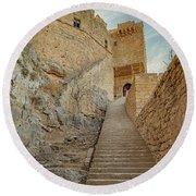 Rhodes Lindos Acropolis Staircase Entrance Round Beach Towel