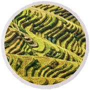 Rice Terraces In China Round Beach Towel