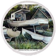 Richardson Boat Shop Round Beach Towel