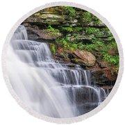 Round Beach Towel featuring the photograph Rickett's Glen Waterfall by Sharon Seaward