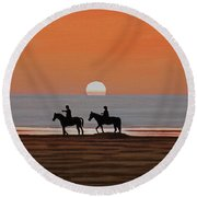 Round Beach Towel featuring the painting Riding Sunset Beach by Kenneth M Kirsch